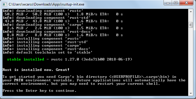 an image of rustup_init after successful install